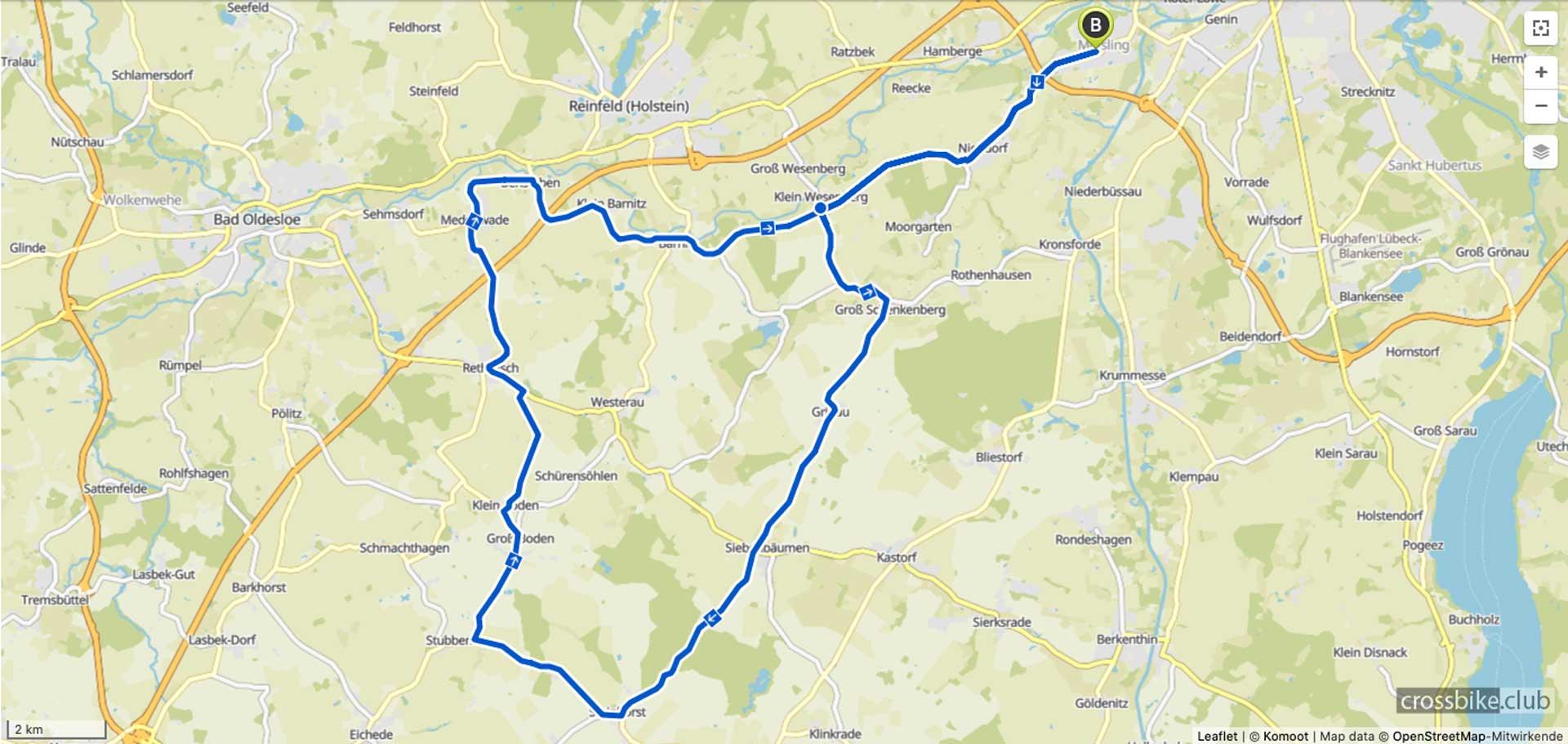 Landkarte Fahrradtour von Lübeck nach Steinhorst 50k